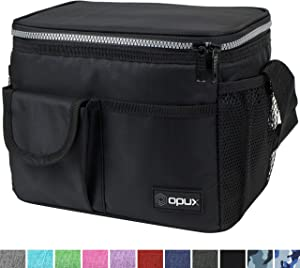 OPUX Lunch Bag Insulated Lunch Box for Women, Men, Kids | Medium Leakproof Lunch Tote Bag for School, Work | Lunch Cooler with Shoulder Strap, Pocket | Fits 8 Cans (Black)