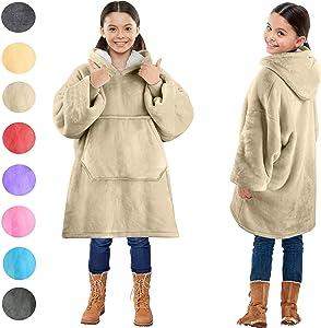 Blanket Sweatshirt, Super Soft Warm Cozy Wearable Sherpa Hoodie for Teens, Boys, Girls, Youth, Kids (7-15yr), Oversize, Reversible, Hood & Large Pocket, One Size, Latte