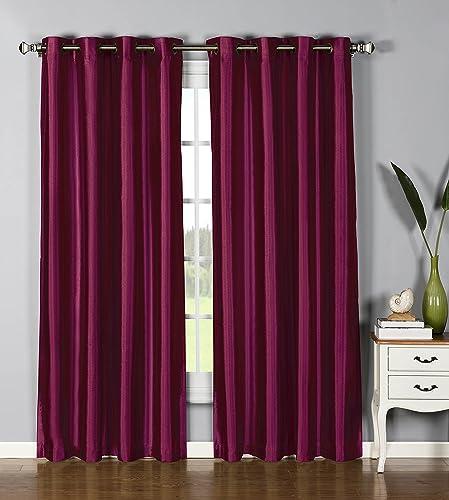 Window Elements Jane Faux Silk 76 x 84 in. Grommet Curtain Panel Pair