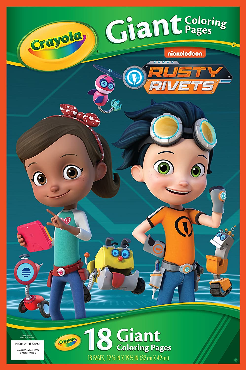 Crayola rusty rivets 18 giant coloring pages gift for kids 3 4 5 6 red