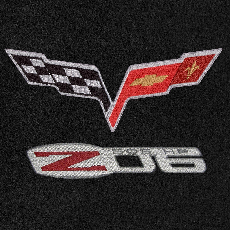Lloyd Mats Velourtex Ebony Front Floor Mats For Corvette Z06 with C6 Flags and Z06 505HP Logo