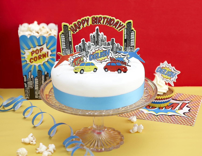 Amazoncom Ginger Ray Pop Art Superhero Party Birthday Cake