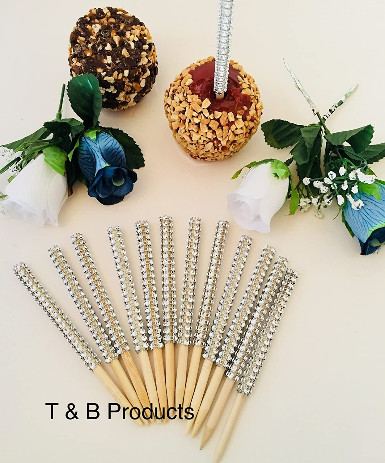 BLING GLAM 12 PC Bling Silver Candy Apple Sticks USPS First Class shipping