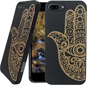 Wood iPhone Case - iPhone 7 Plus/iPhone 7 Plus Case - WDPKR Wooden Phone Cover - Unique High Contrast Black Painted Wood Bumper Accessory for Apple iPhone 7 Plus (Hamsa Fatima Hand)