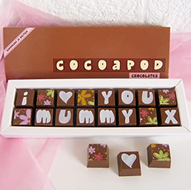 c24352fb4fe5e I (love) You Mummy in Milk Chocolate With Flower Pattern