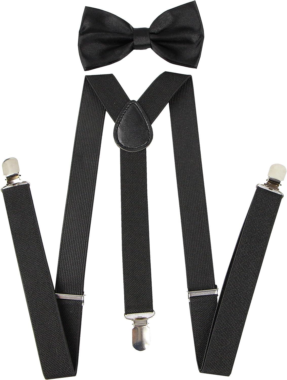 Unisex Men/'s Women/'s Adult Combo Deal Clip-on Suspender and Bow Tie Combo