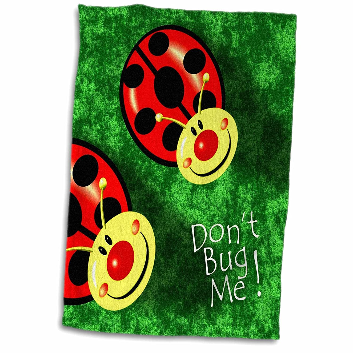 Multicolor 15 x 22 3D Rose Dont Bug Me-Happy Ladybugs On Green Background Hand Towel