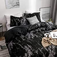 Dark Marble Quilt Cover Set - All Size Bed Ultra Soft Quilt Duvet Doona Cover Set with Pillowcase (Double)