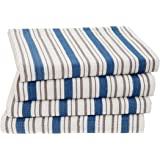 Cotton Craft - 4 Pack Oversized Kitchen Towels, 20x30 - Azure Blue, Pure 100% Cotton, Crisp Basket weave striped pattern, Convenient hanging loop - Highly absorbent, Professional Grade, Soft yet Sturdy
