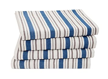 Amazon.com: Cotton Craft Cotton Kitchen Towel With Hanging Loop, Chocolate  Blue Stripe, 20 X 30 Inch, Set Of 4: Home U0026 Kitchen