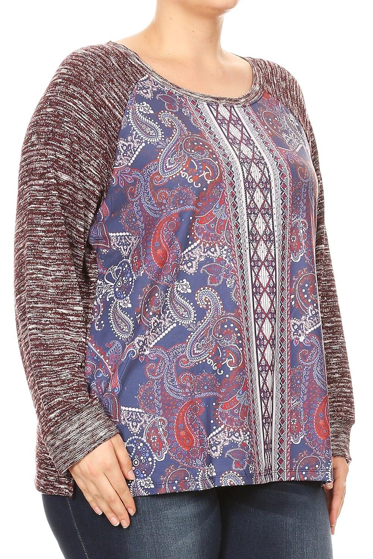 6c152ef22f Aki Shop Women Plus Size Paisley Knit Top Contrast Top & Long Sleeve Top Tee  Blouse 1XL-3XL at Amazon Women's Clothing store: