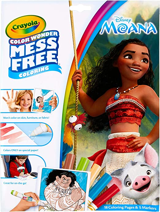 Amazon Com Crayola Wonder Moana Coloring Pages Mess Free Refill Book Toys Games