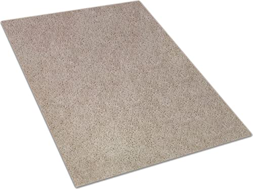 Soft Beige Area Rug Available in Multiple Shape and Custom Sizes. 100 Solution Dyed BCF Polyester Fibers. Great for Apartments, Renters, Bedrooms, Living Rooms, Dorms, etc. 11 x 14