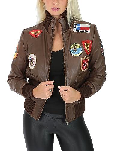 Mujer Cuero Real Bombardero Top Gun Chaqueta de la Fuerza Aérea Estilo Glory Marrón