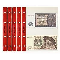 10 Feuilles pour collection de pièces de billets de banque, 143mm X 80mm (pour classeur M). 2 Pochettes pour billets de banque sur chaque feuille
