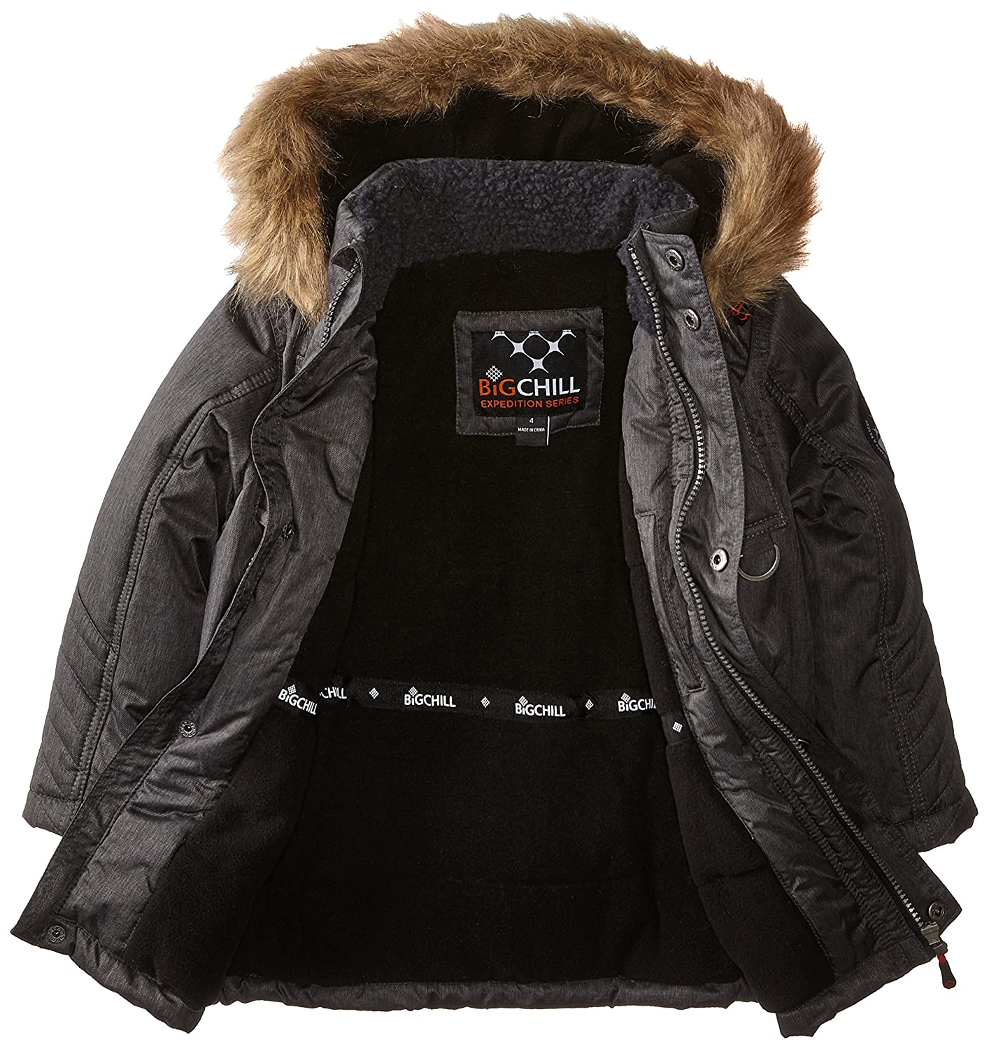 c9c783327f9 Amazon.com: Big Chill Little Boys' Expedition Parka with Faux Fur Trim:  Clothing