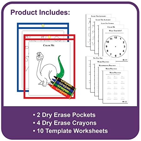 Amazon.com : C-Line Reusable Dry Erase Pocket Kit with Crayons ...