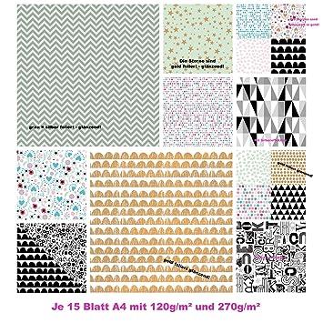 30 blatt papier edel motivpapier bastelpapier dekorpapier muster scrapbooking block din a4 gold silber schwarz - Bastelpapier Muster
