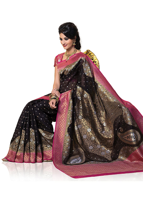 c668385a9c Meghdoot Women's Designer Kanchipuram Spun Silk Saree Black and Pink Colour  Sari: Amazon.co.uk: Clothing