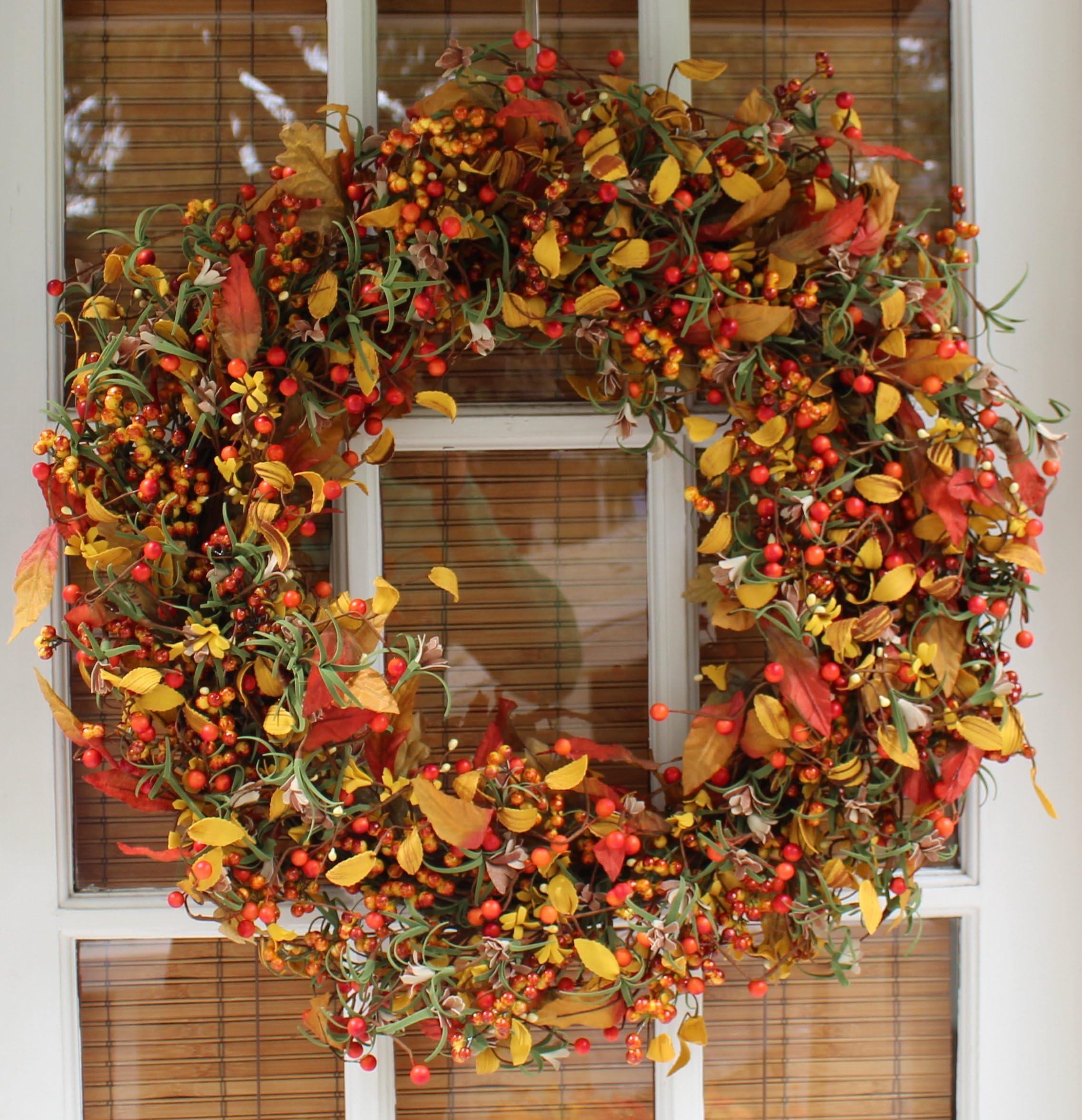 Appalachia Berry Silk Fall Door Wreath 22 inch  sc 1 st  Amazon.com & Shop Amazon.com | Wreaths