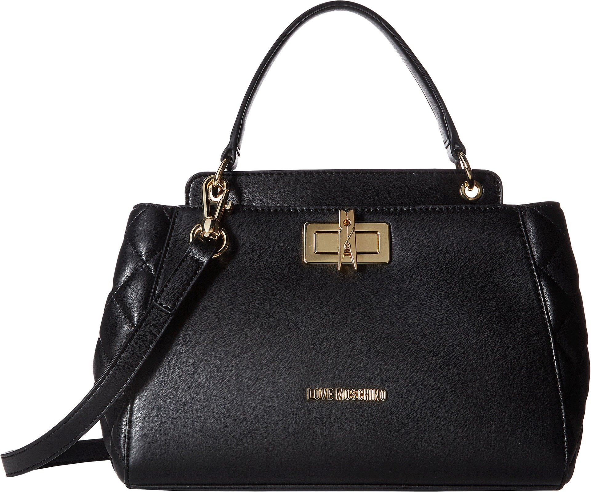 LOVE Moschino Women's Fashion Quilted Top Handbag Black One Size