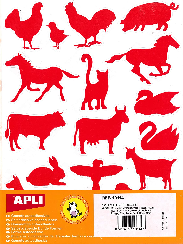 APLI Kids 10114-Bolsa gomets siluetas animales granja 12 hojas