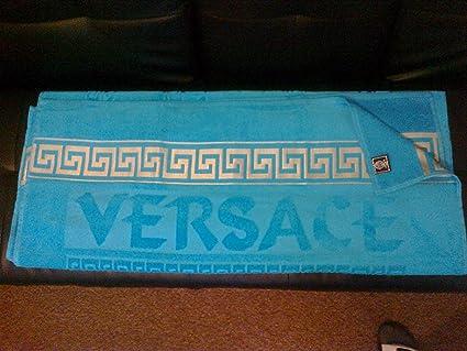 956c2bbdb6c Versace style bleu Deluxe Serviette de plage de visage mains de bain 100%  coton