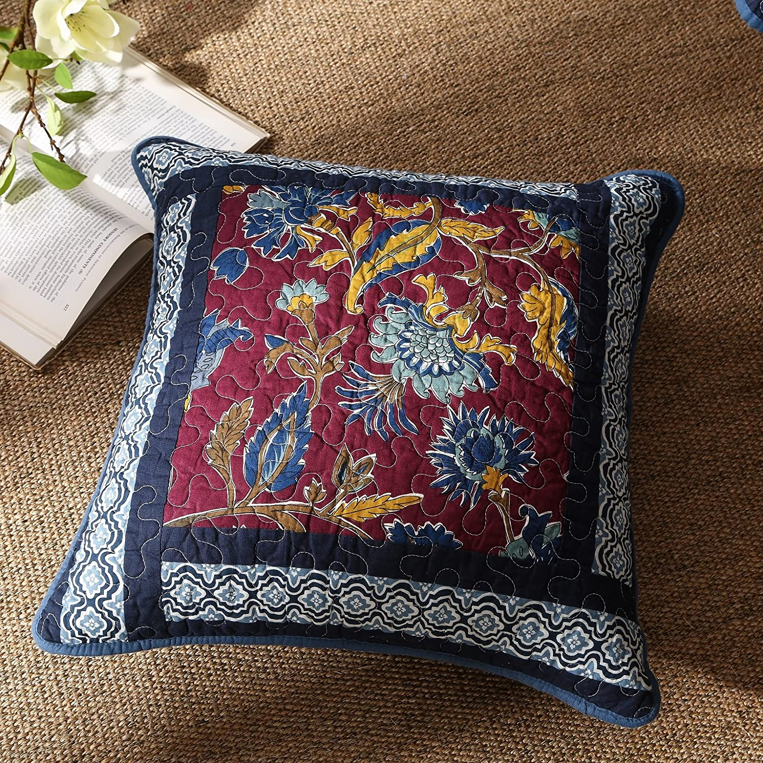 Midnight Ocean Blue Sea Real Patchwork Quilted Accent Pillow Cushion Covers Cases Pair - Dark Navy Floral Multi-Color Print
