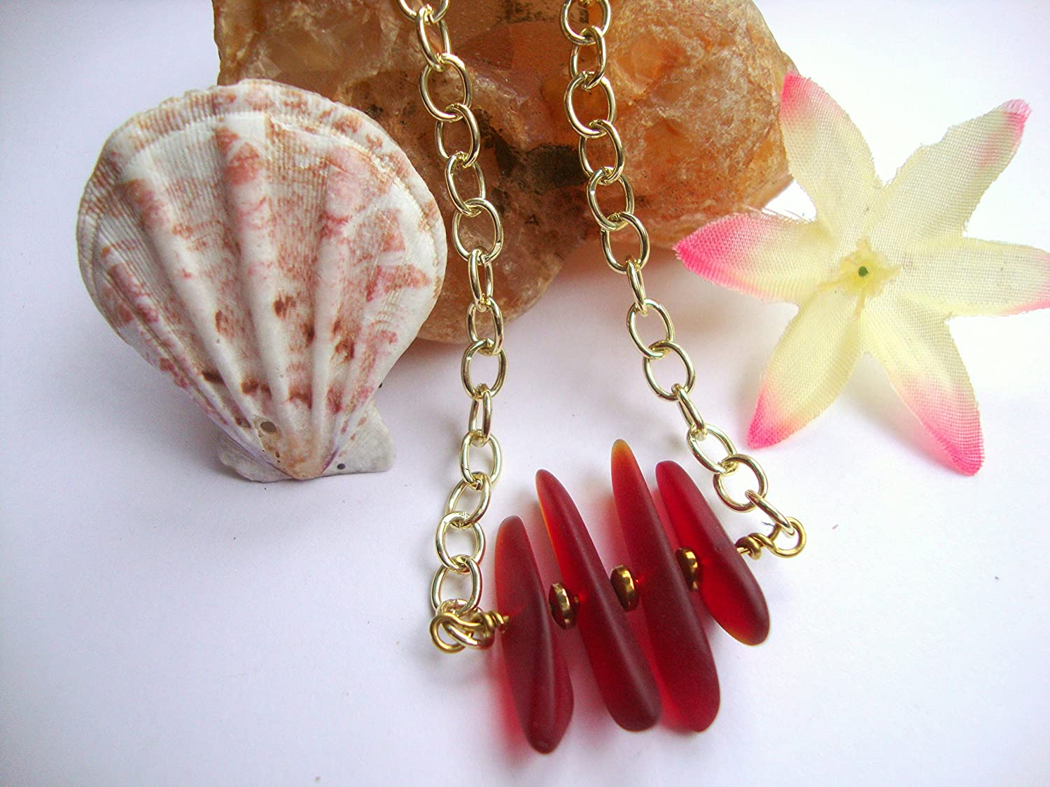 Adjustable Red SEA GLASS Bar Pendant Gold Curb Style Chain Necklace With Lobster Claw