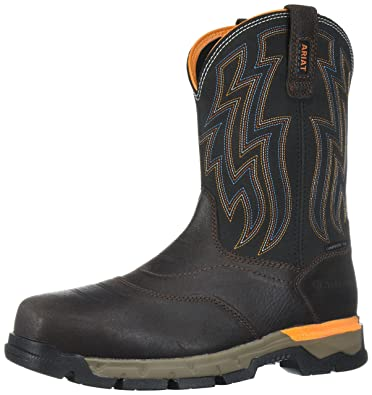 Men's Ariat Rebar Flex Western Composite Toe Work Boot, Size: 11 EW, Chocolate Brown Leather