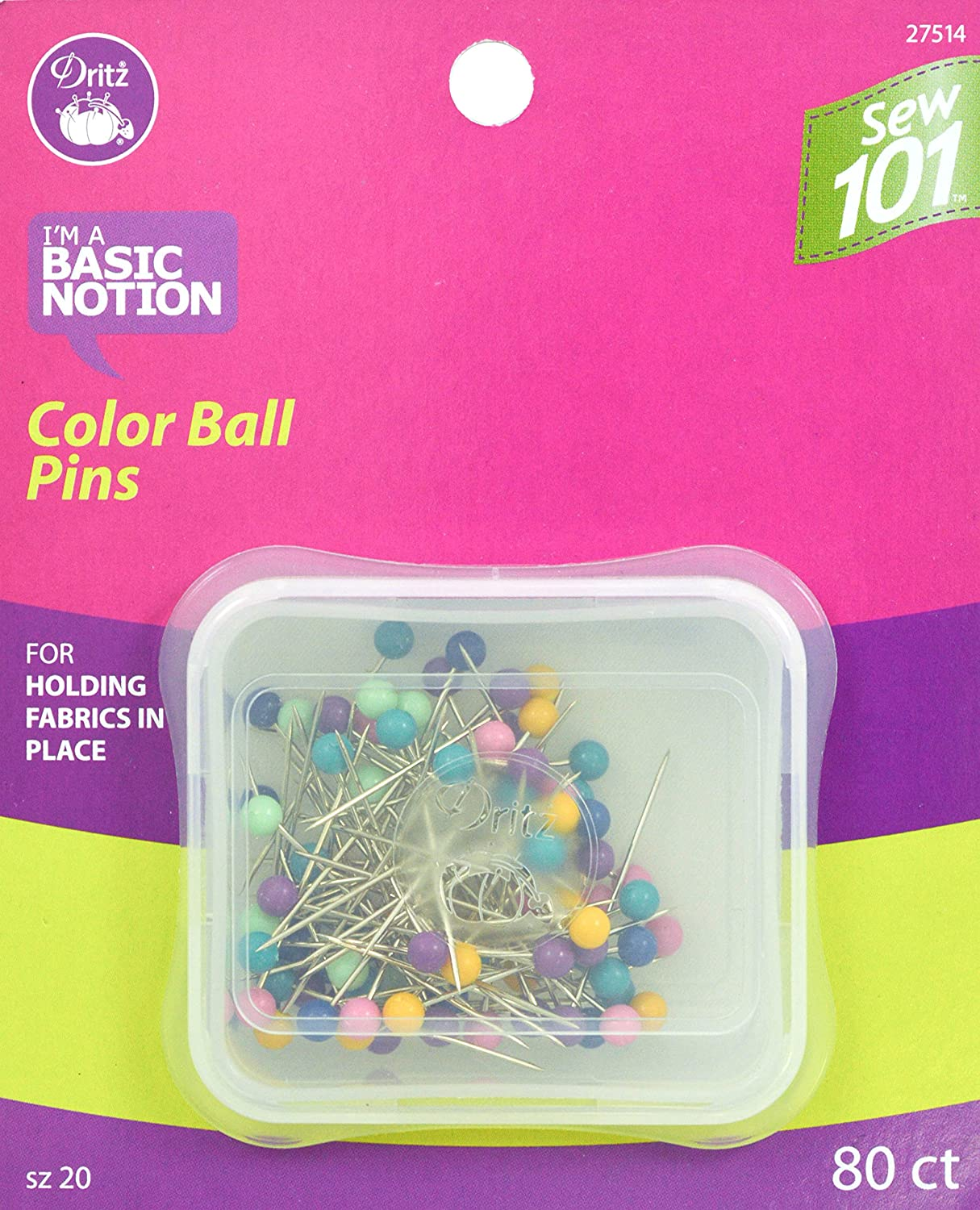 Dritz Sewing 101 S101 Color Ball Pins 80 ct Sewing 101 Color Ball Pins, Size 20-80 Ct Prym Consumer 27514