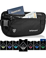 RFID Blocking Money Belt with 7 Anti-Theft Protector Sleeves (1 Passport and 6 Credit Card RFID Holders) for Travel