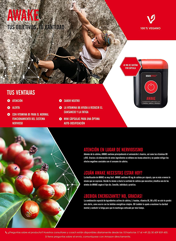 BRAINEFFECT AWAKE - Hasta 160mg Cafeína por Porción - 80 Cápsulas - Con L-Teanina & Vitamina B6 - B6 Contra el Cansancio y la Fatiga - Vegano - Hecho ...