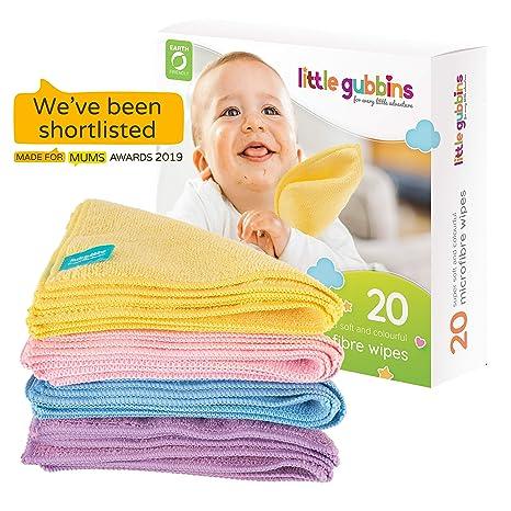 20 toallitas para bebé MICROFIBRA de Little Gubbins | Paquete de paños secos sin aroma
