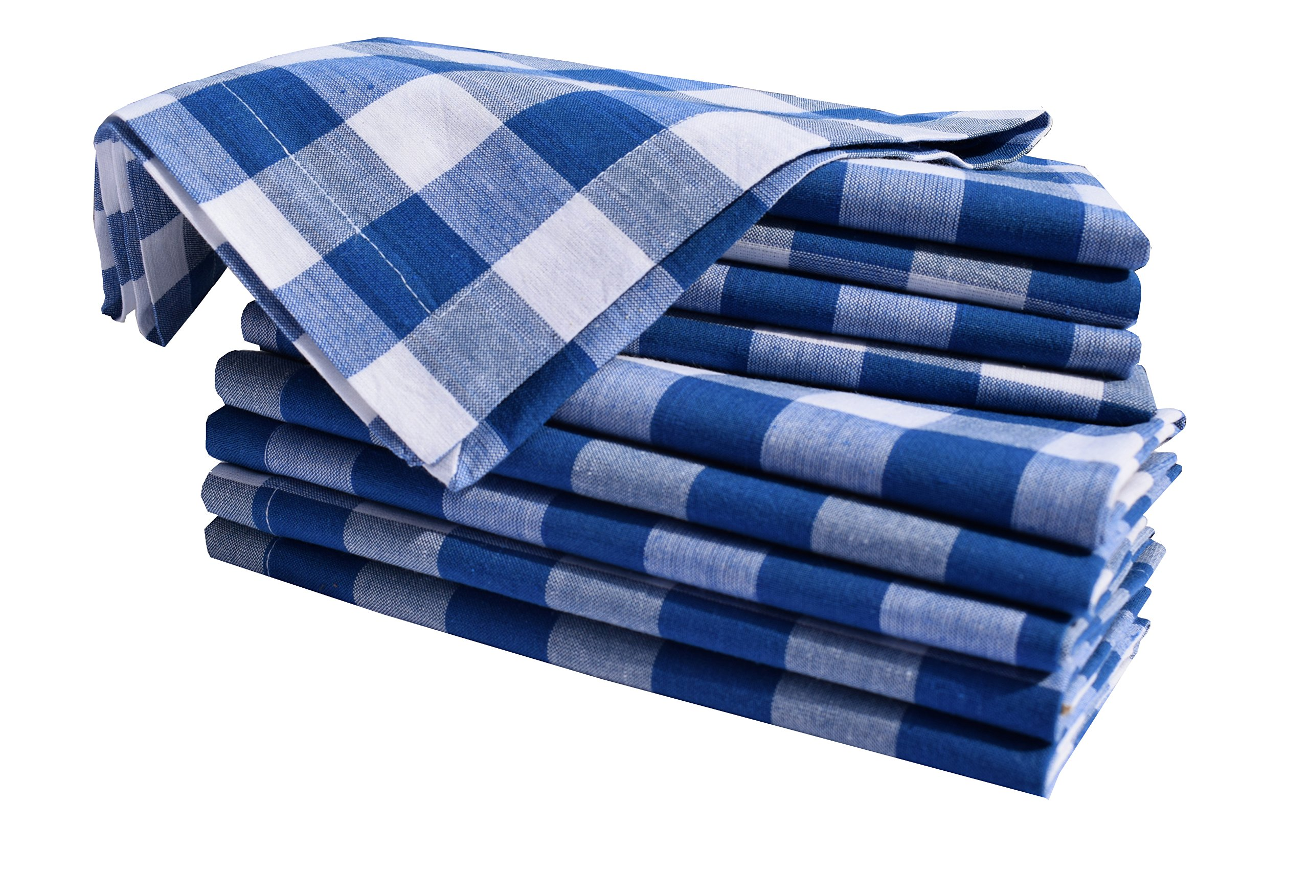 Linen Clubs 12Pack Night Sky Blue White 100% Cotton Yarn Dyed Gingham Check Dinner Napkins 18x18Inch,Clambake Beach Party Nautical Dinner Napkins as Well Offered
