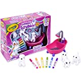 Crayola Scribble Scrubbies Pet Playset, Colour, Rinse, Re-Pet, Scrub Tub, Colour & Clean, Washable Toy, Featuring 2 Dogs, 1 Cat & 1 Rabbit,  Kids, Collect Them All!
