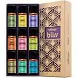 Natrogix Bliss - Top 9 Therapeutic Grade 100% Pure Essential Oil Set (Eucalyptus, Frankincense, Lavender, Lemongrass, Lemon, Moroccan Rosemary, Sweet Orange, Tea Tree, Peppermint) w/ Free E-Book