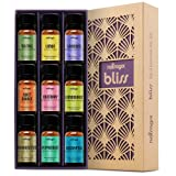 Natrogix Bliss - Top 9 Therapeutic Grade 100% Pure Essential Oil Set (Tea Tree, Lavender, Eucalyptus, Frankincense, Lemongrass, Lemon, Moroccan Rosemary, Sweet Orange, Peppermint) w/ Free E-Book