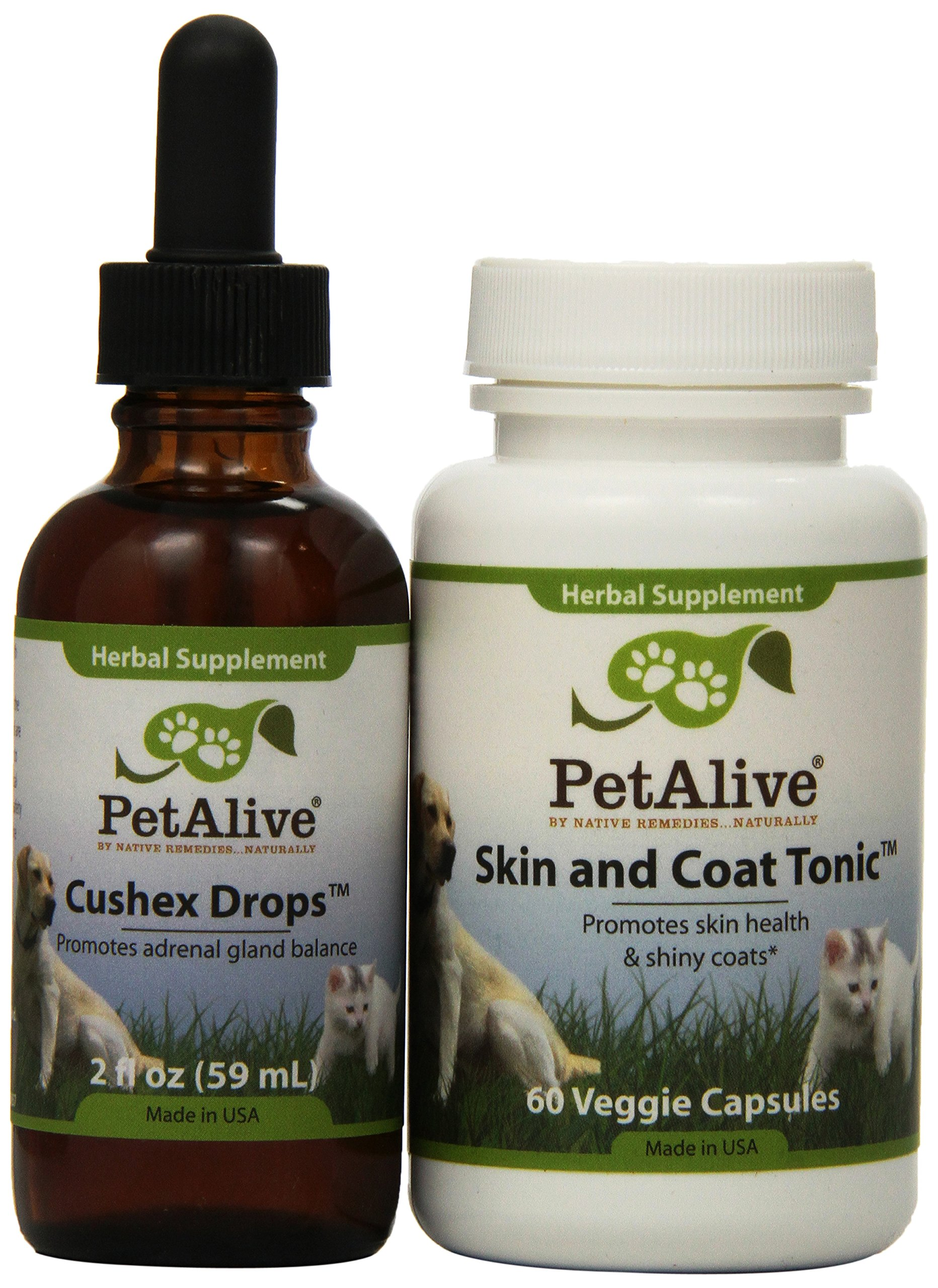 Pet Alive Cushex Drops and Skin & Coat Tonic Combo Pack
