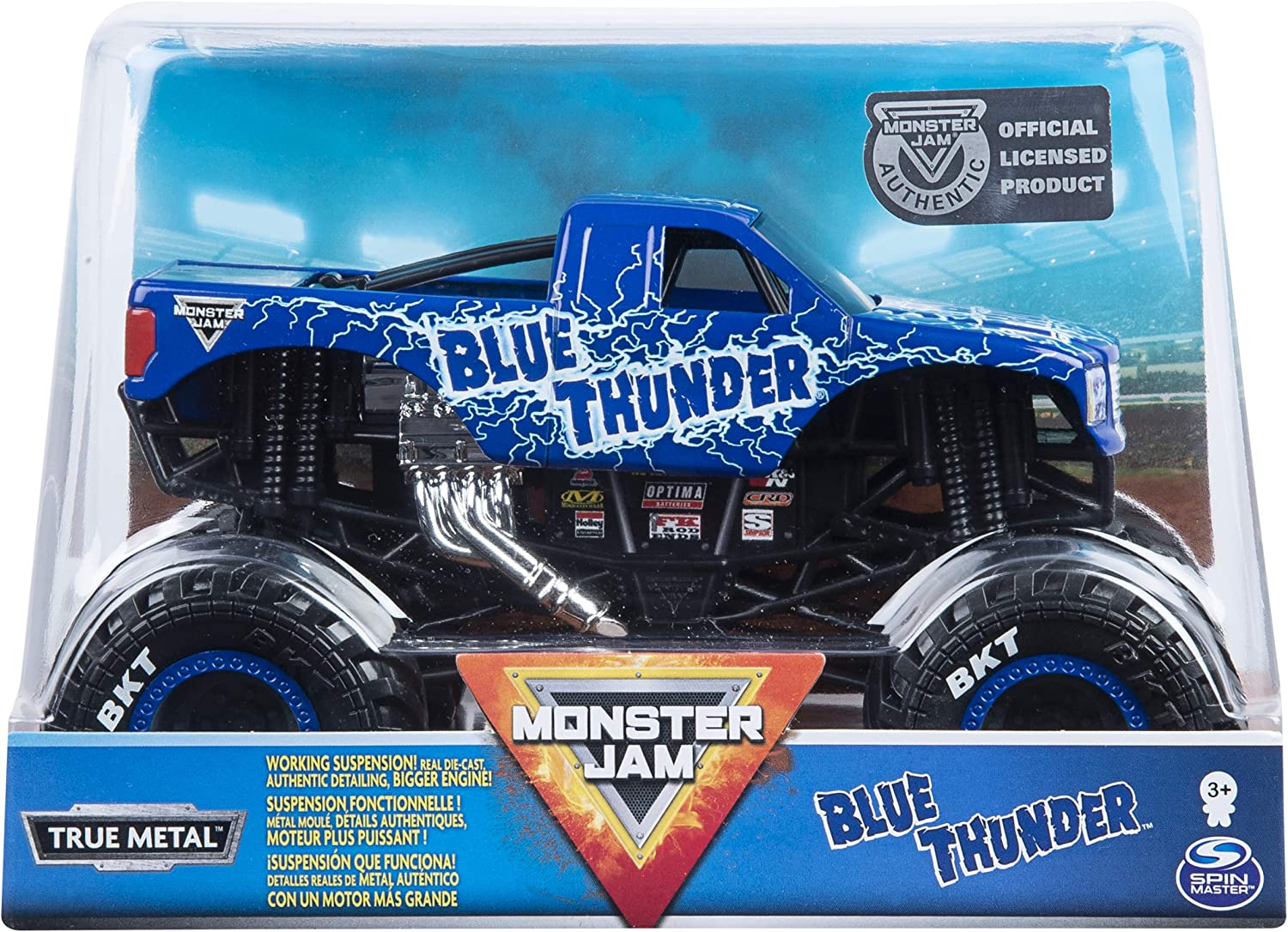 Monster Jam, Official Blue Thunder Monster Truck, Die-Cast Vehicle, 1: 24 Scale