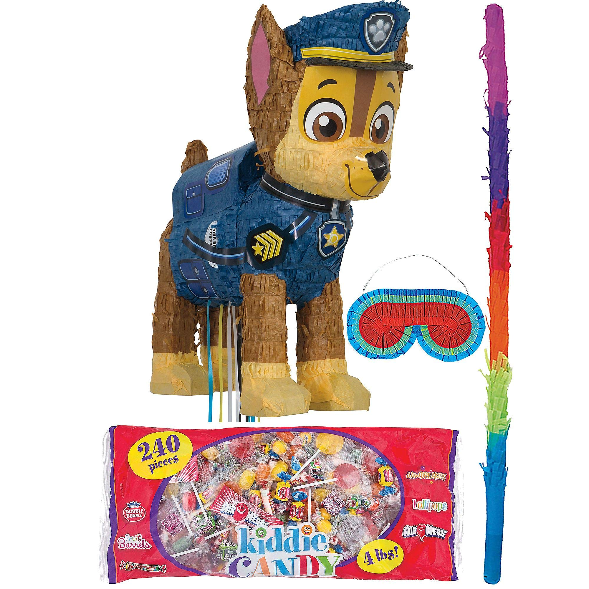 Party City Chase PAW Patrol Pinata Kit for Birthday Party, Includes Bat, Blindfold and Kiddie Candy Mix (4lb bag)