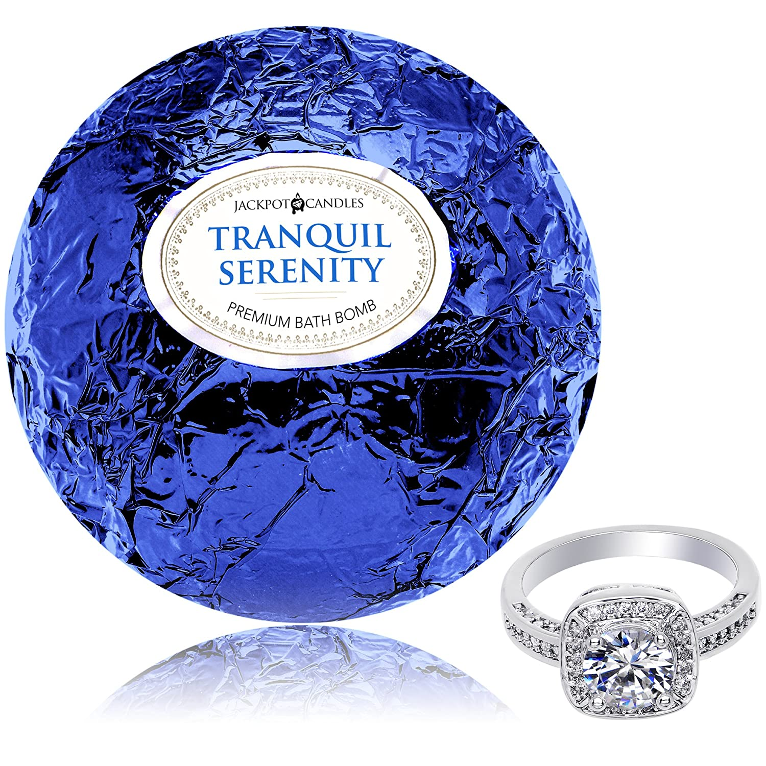 Bath Bomb with Surprise Size Ring Inside Tranquil Serenity Extra Large 10 oz. Made in USA Jackpot Candles