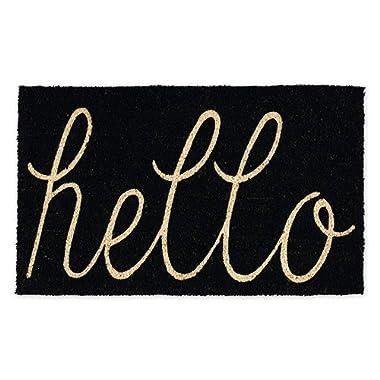 DII CAMZ34075 Hello Coir Doormat, 18 x 30, Black