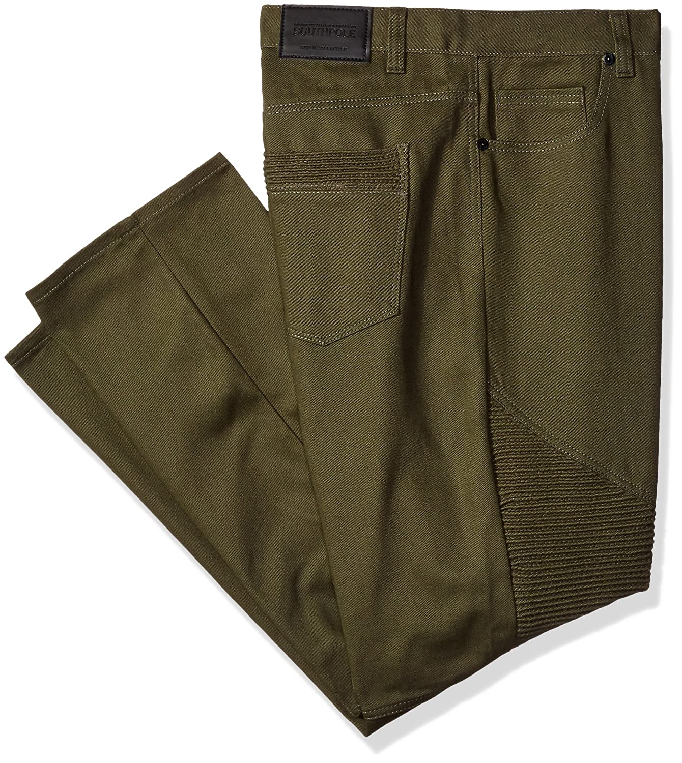 Southpole Men's Big and Tall Twill Pants Long In Thick Bull Twill Fabric and Moto Biker Details On Knees 16327-3306
