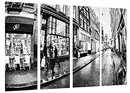 Legno Bianco E Nero : Quadro su legno city scene old street vintage bianco e nero