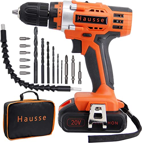 Hausse Cordless Impact Drill Driver 20V 3 8 Inch with Rechargeable Lithium Battery, Compact Heavy Duty Power Tool