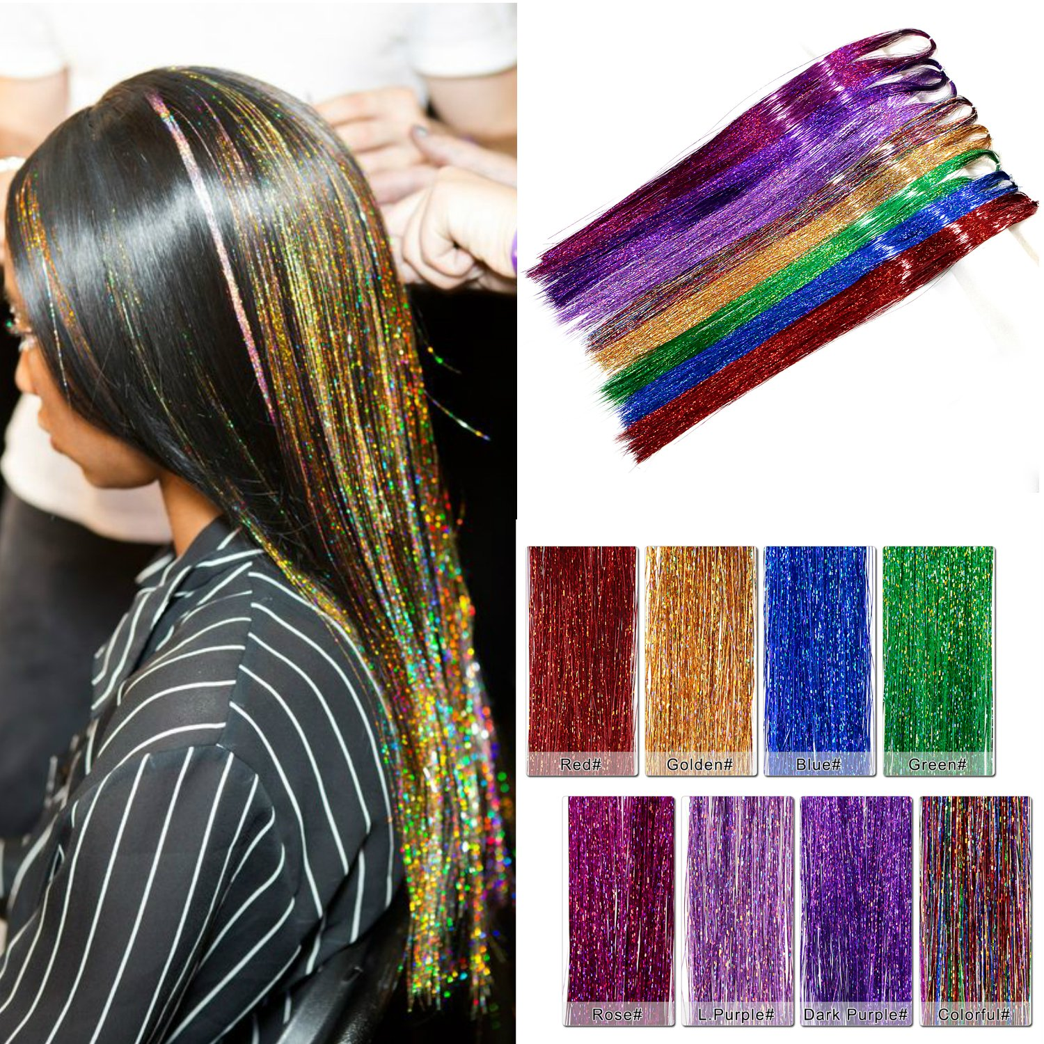 Amesun 35 Hair Tinsel 1200 Strands With Hook Eight Colors (Sparkling Blue flame, Sparkling Blue Sea, Sparkling Green Emerald, Sparkling Pink Fuchsia, Sparkling Purple Orchid, Sparkling Red Fire, Sparkling Mix) … Sparkling Mix) … ZHUHAIR AIYUCHEN COMPANY CO