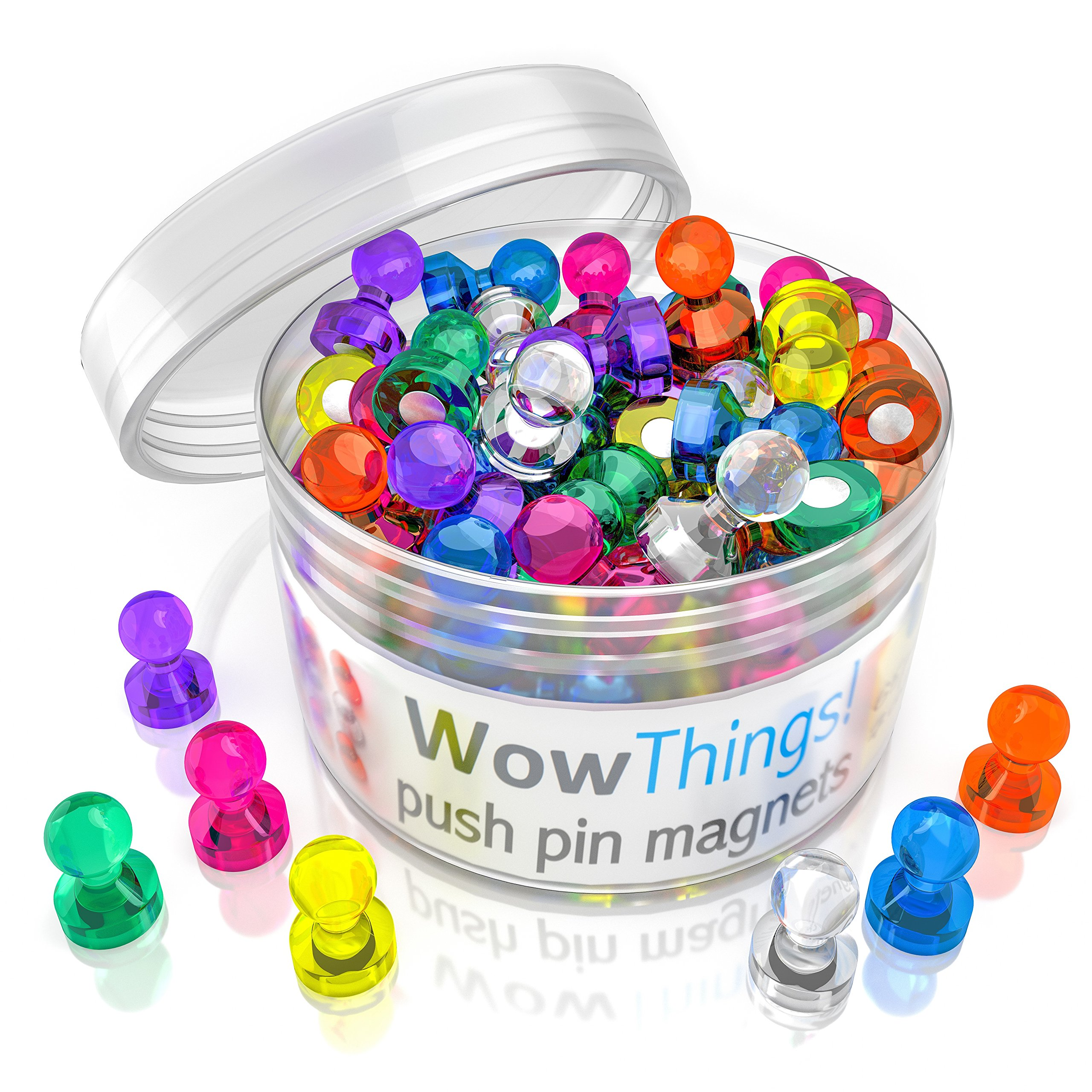 Push Pin Magnets, 65 Pack Assorted Colored Kitchen Office Magnets, Neodymium Mini Fridge Magnets Strong, Heavy Duty Push Pins, Perfect For Classroom Map Dry Erase Whiteboard Magnets, Teacher Magnets by WowThings!