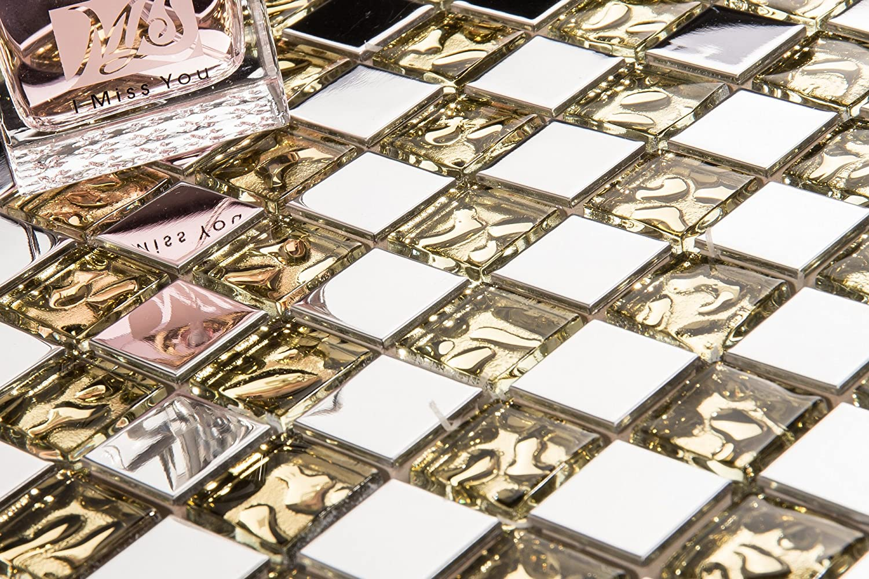 Patró n de 10 x 10 cm. Plata Acero Inoxidable y Cristal texturiert Oro azulejos mosaico (mt0157 Sample) GTDE