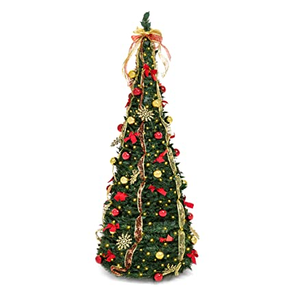 best choice products 6ft predecorated artificial christmas tree wstand ornaments included